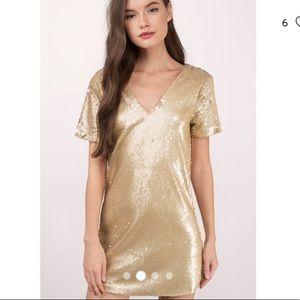 NWT Tobi Gold Sequin Mini Dress Sz XS